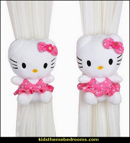 Plush Kitty Doll Curtain Clip  Hello Kitty bedroom ideas - Hello Kitty bedroom decor - Hello Kitty bedroom decorating - Hello Kitty bedroom furniture - Hello Kitty Wallpaper Mural - Hello Kitty Throw Pillows  - Hello Kitty bedding - Hello Kitty Rugs