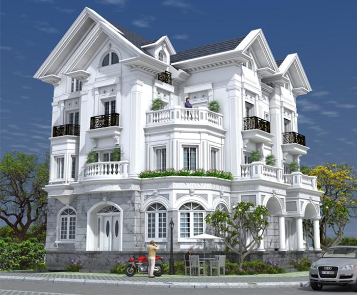 Mẫu thiết kế kiến trúc biệt thự pháp cổ điển 3 tầng