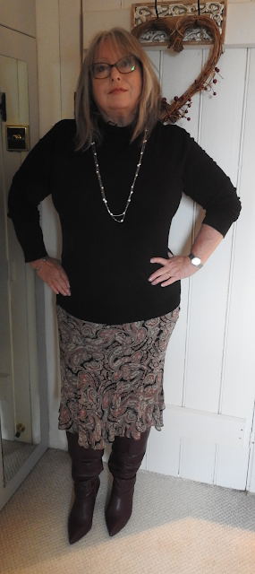 Pouting-Pensioner-Paisley-skirt-black-polo-beck-berry-knee-boots