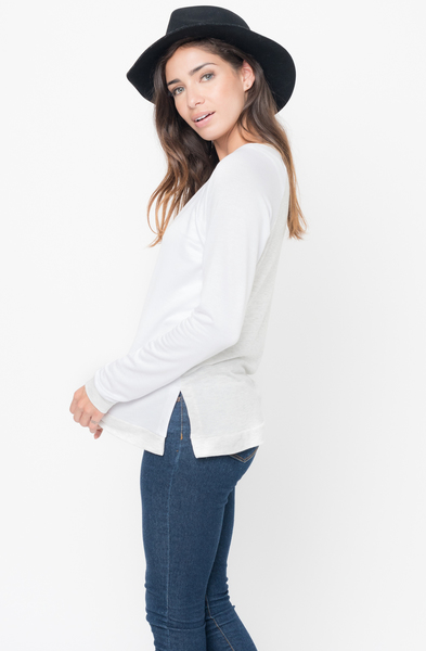 Shop for White Color Block Two Tone Pullover Crew Neck @34$ On Caralase.com