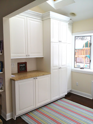 counter space with mudroom cabinets