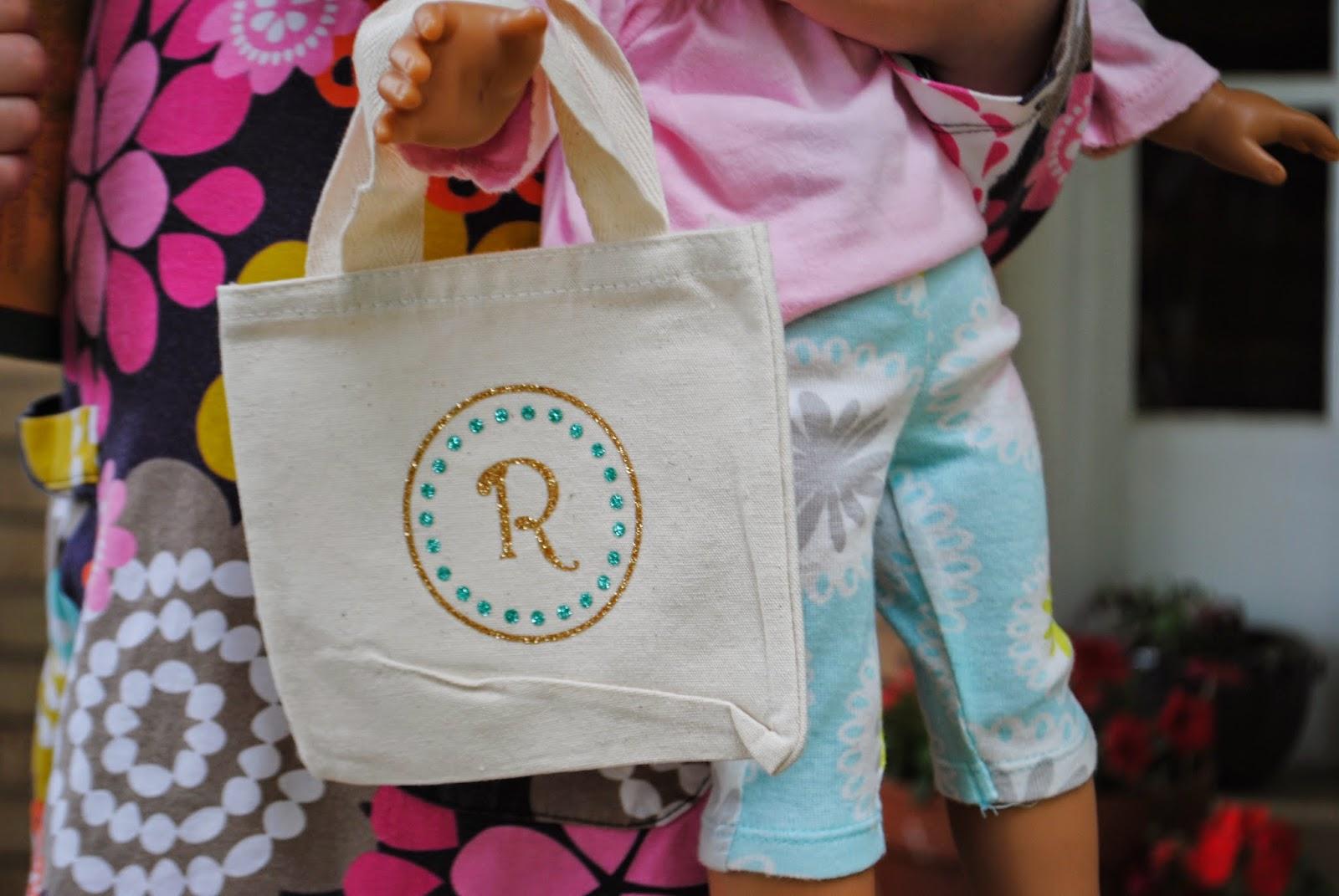 Book bag, library, glitter, heat transfer vinyl, htv, doll