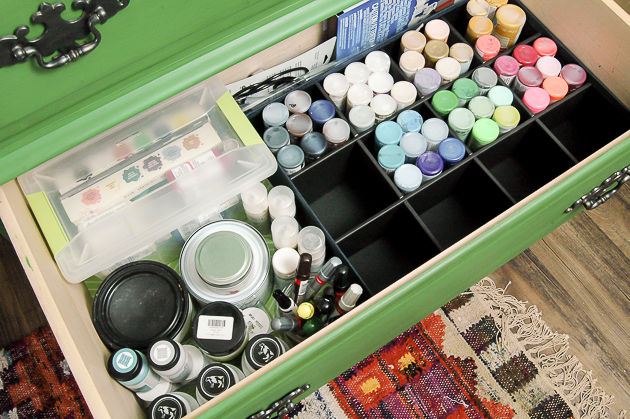 Organizing paints in a dresser drawer
