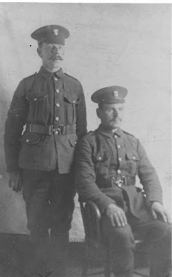 Seated Private Jack Reardon of Thornley took part in the trench raid as a bayonetman but was to lose a leg on 1 July 1916.  From Tyneside Irish by John Sheen.