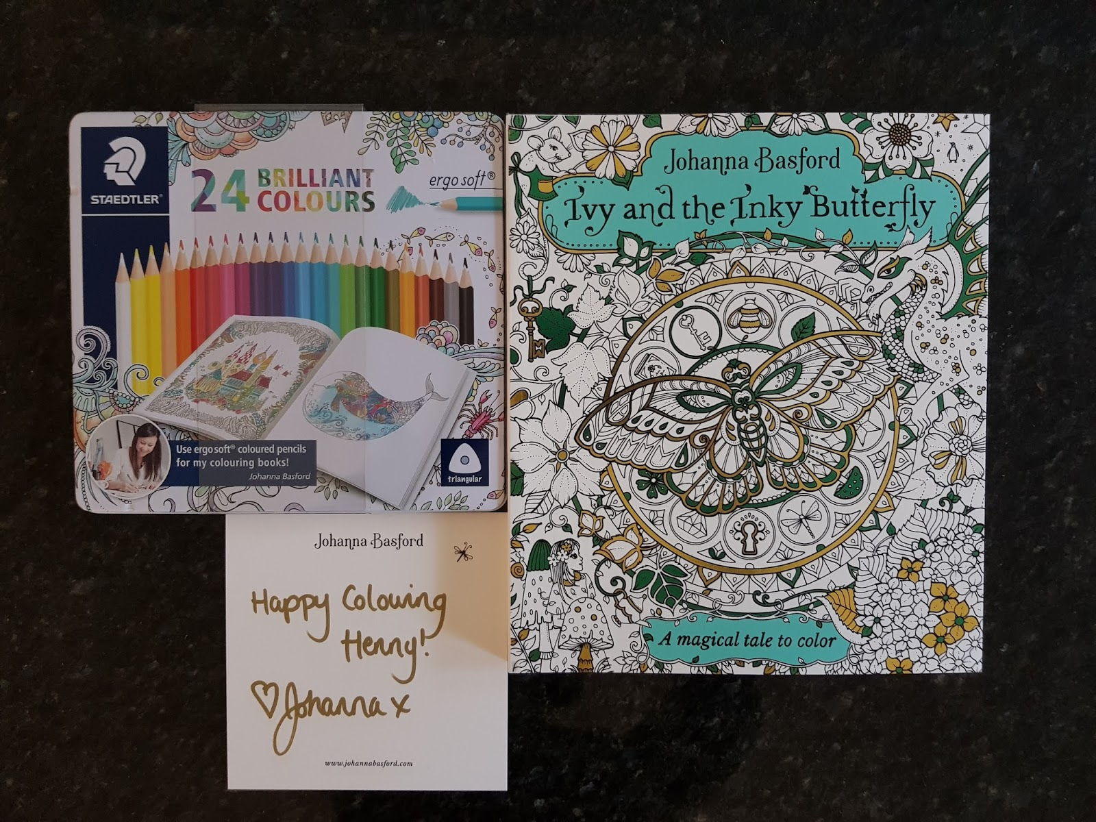 A Couple Of Days Ago Package Came In The Mail With Johanna Basfords Latest Book Ivy And Inky Butterfly Was So Generous To Also Send Me