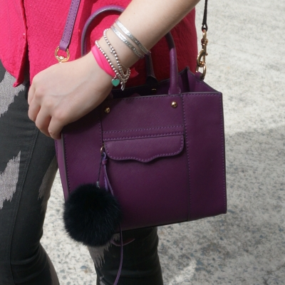 silver bracelet stack, Rebecca Minkoff mini MAB tote in plum | away from the Blue