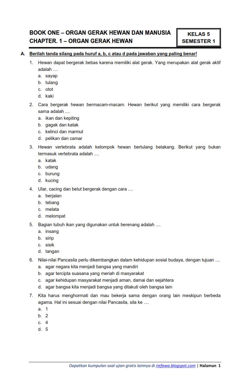 Download Soal Kelas 6 Semester 1 Tema 1 Subtema 1 Selamatkan Makhluk Hidup Tumbuhan Sumber