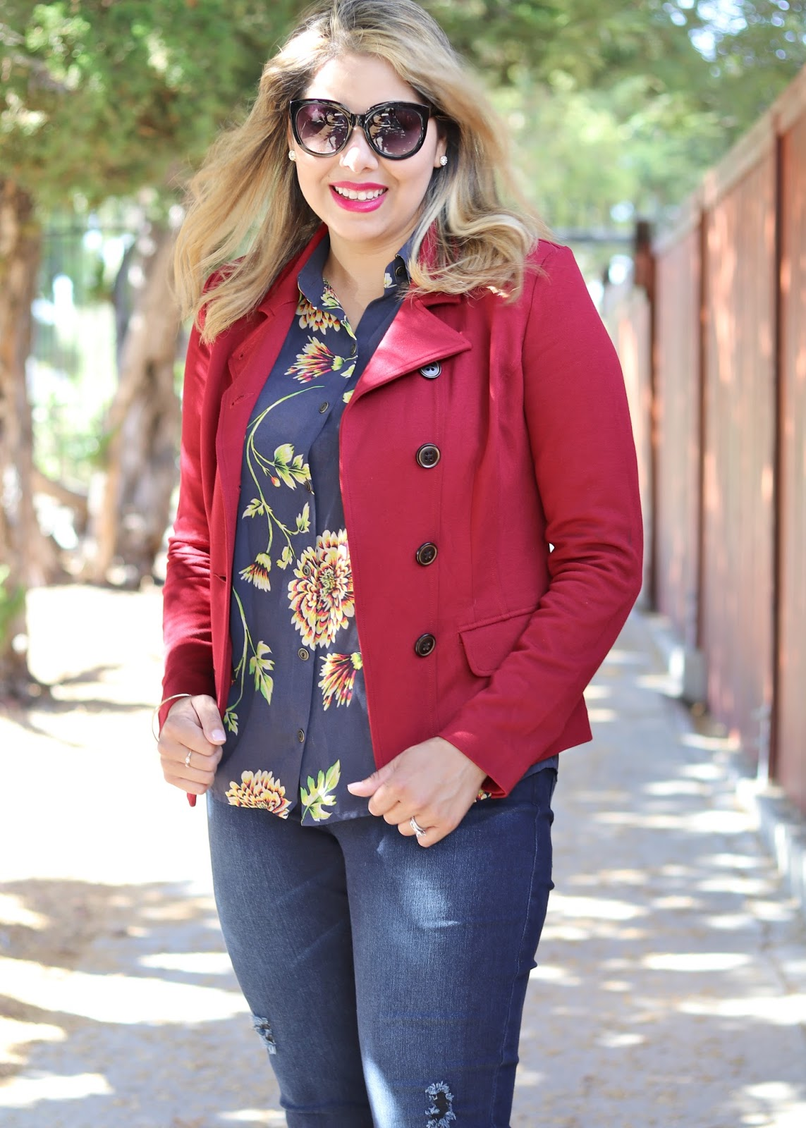 Burgundy blazer, cabi red outing blazer, cabi burgundy blazer, fall 2016 trends