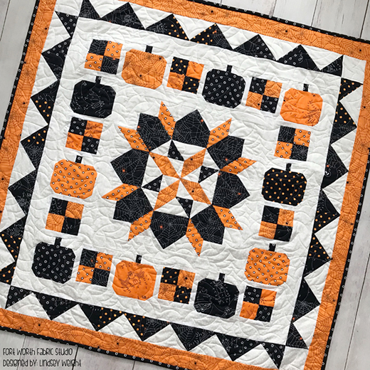 Boo To You Halloween Mystery Quilt Free Pattern Designed by Lindsey Weight from Fort Worth Fabric Studio