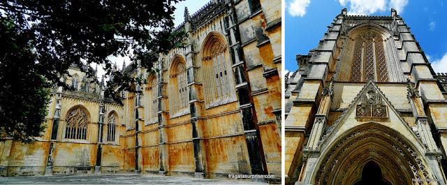 Detalhes da fachada do Mosteiro da Batalha, em estilo gótico flamenjante