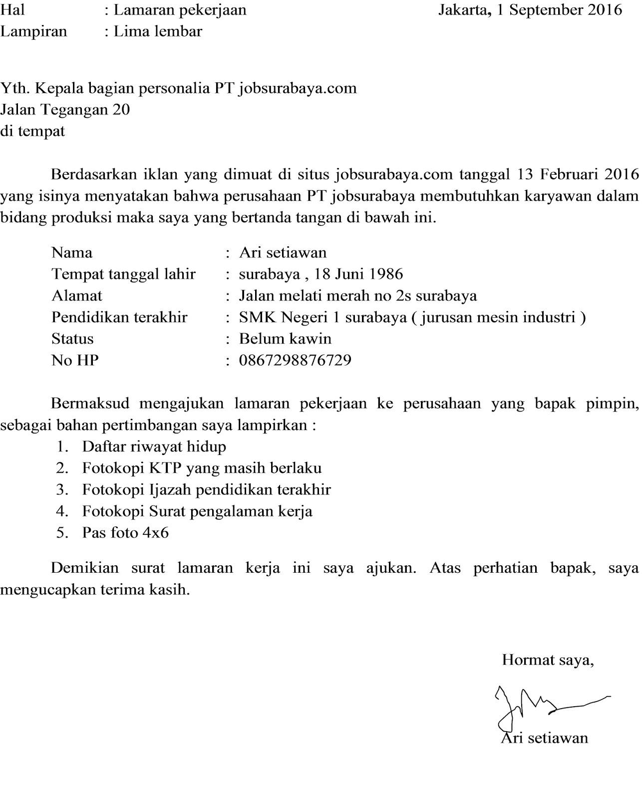 contoh dan cara membuat surat lamaran pekerjaan - Lowongan Kerja ...
