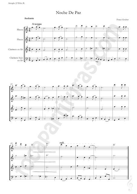 Partitura de Noche de Paz para Cuarteto de Flauta y Clarinete en Si bemol. Cuarteto de Instrumentos afinados en Do y en Si bemol de Silent Night Sheet Music for Cuartet of Flute and Clarinet. C & B flat Musical Instruments