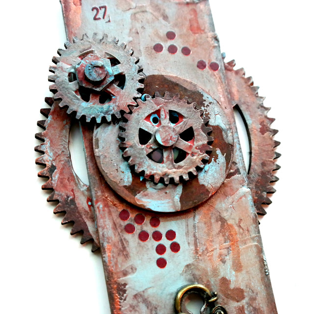 Distressed Tando Creative Chipboard Door with Andy Skinner Industrial Elements Layered Gears Painted with DecoArt Media