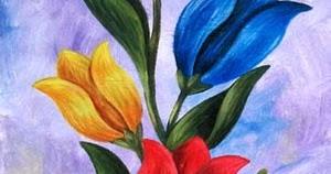 Jual Lukisan Bunga Tulip 40x80cm MB064  milieArt Yogyakarta