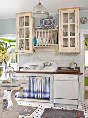 The Black And White Tiled Floor Vintage Cabinets Give This Kitchen A Clic Farmhouse Feel