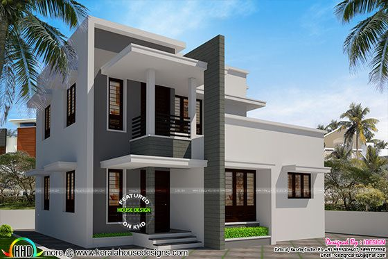 Simple flat roof house 1540 sq-ft