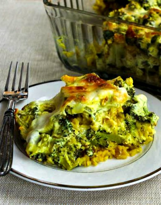 Vegetarian Curried Brown Rice and Broccoli Casserole with Creamy Curry Sauce found on KalynsKitchen.com
