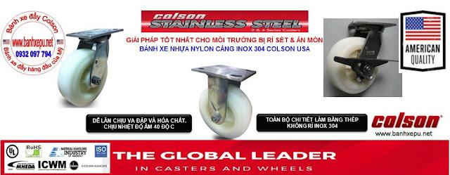 Bánh xe đẩy càng inox 304 Colson chịu lực phi 150 của Mỹ