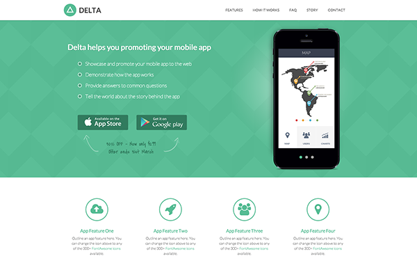 Download delta promote mobile app effectively download bootstrap delta is an html5 landing page template designed to help app developers promote their mobile apps it is a good starting point to quickly have a web maxwellsz