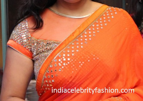 High Neck Net Mirror Work Blouse Design