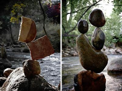 Esculturas con piedras de río.
