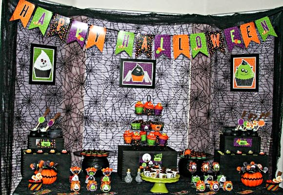 A Sweet Little Monsters Halloween Desserts Table - via BirdsParty.com