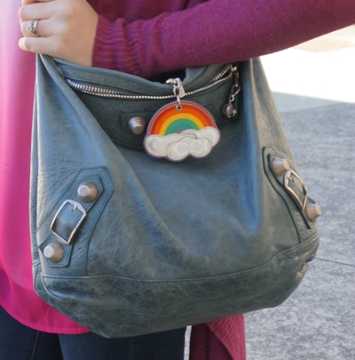 Balenciaga giant hardware Day bag in 2009 tempete with Coach rainbow charm