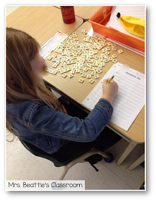 Photo of student working on Bananagrams center.