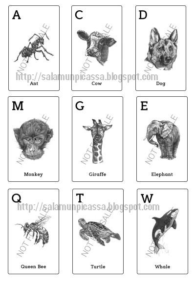 Kartu 4 Dimensi Animal 4D+ siap cetak format A4 HVS