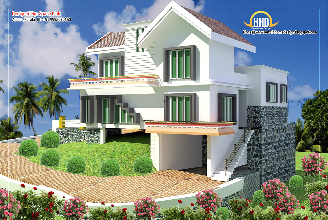 Double storey home designs 1650 sq ft kerala home for Double story house design