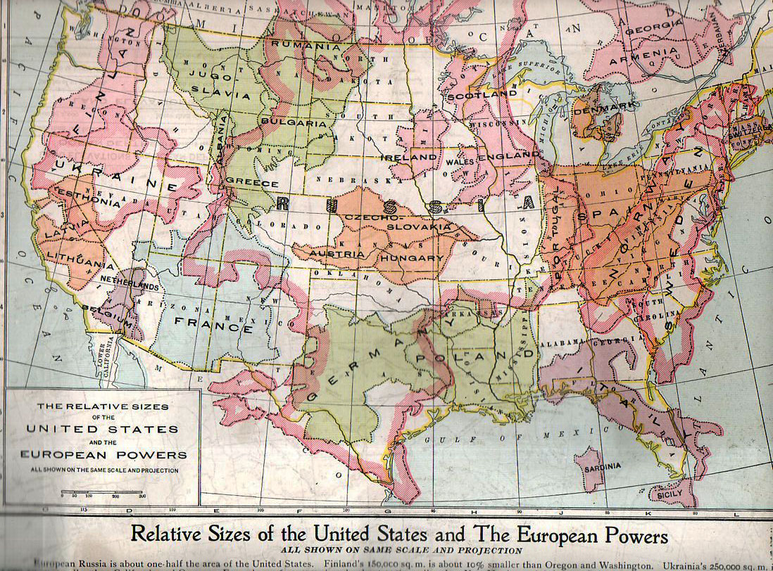 Relative sizes of the United States and the European powers, 1920.