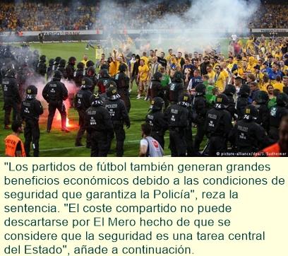 Liga Alemana de Fútbol obligada a compartir gastos policiales en partidos de alto riesgo