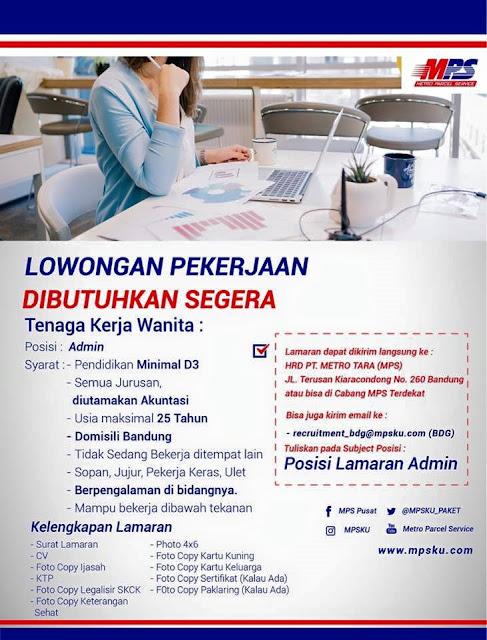 Lowongan Kerja Admin PT. METRO TARA (MPS)