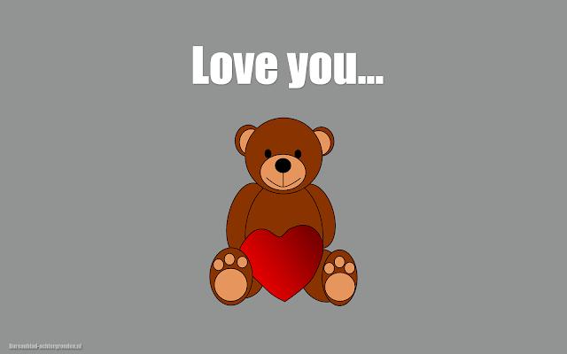 Bruine teddybeer met een liefdes hartje en de tekst love you