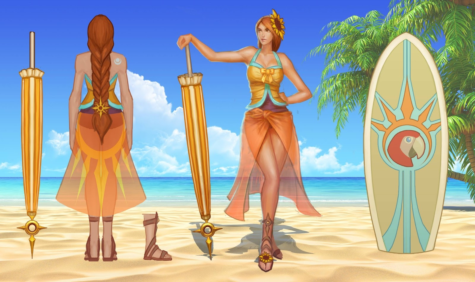 Sunbathing Leona Concept Art Pool Party Skins Pool Party League Of Legends