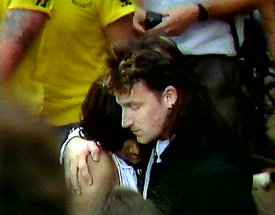 The lucky fan Bono pulled from the crowd in front of the stage at Live Aid July 13, 1985. Her name was Kal Khalique