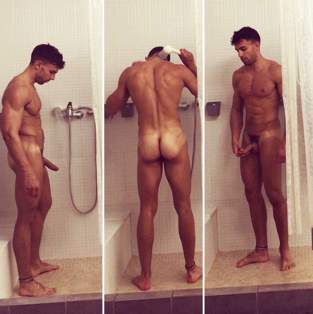 Naked Straight Dudes Hot Hunk In The Shower-7574