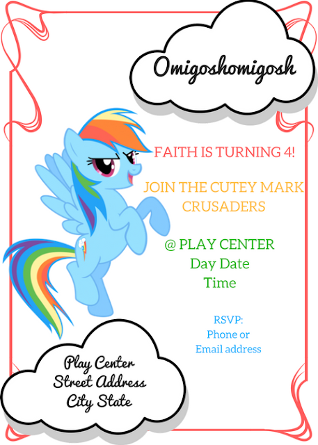 My Little Pony Themed Birthday Invitation