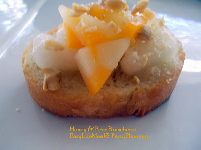 Honey & Pear Bruschetta a quick & delicious appetizer or dessert - Easy Life Meal & Party Planning