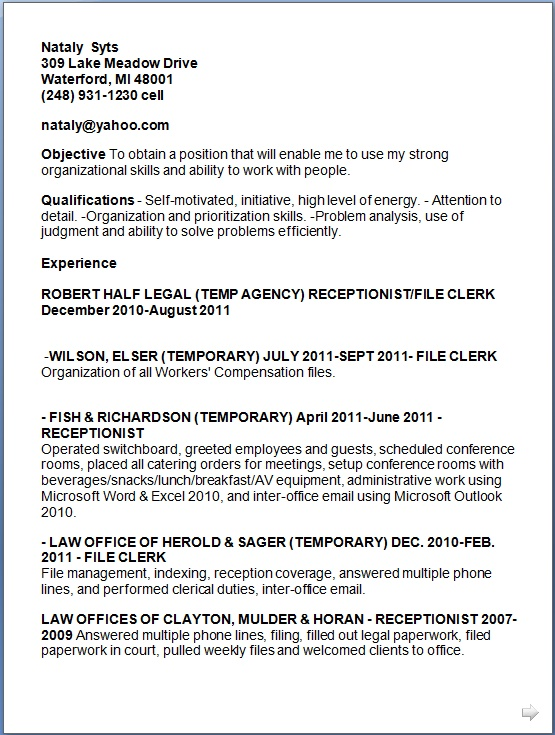 Legal Receptionist Sample Resume Format in Word Free Download