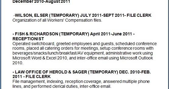 legal receptionist sample resume format in word free download - Law Office Receptionist Sample Resume