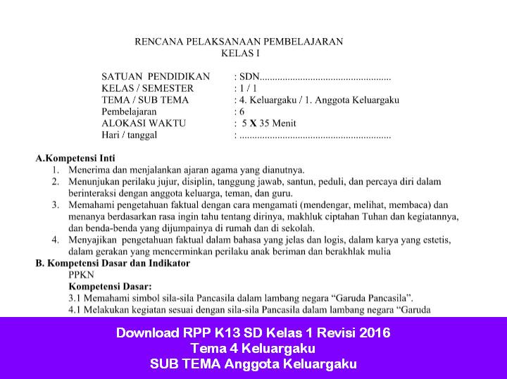 Download RPP K13 SD Kelas 1 Revisi 2016 Tema 4 Keluargaku SUB TEMA Anggota Keluargaku