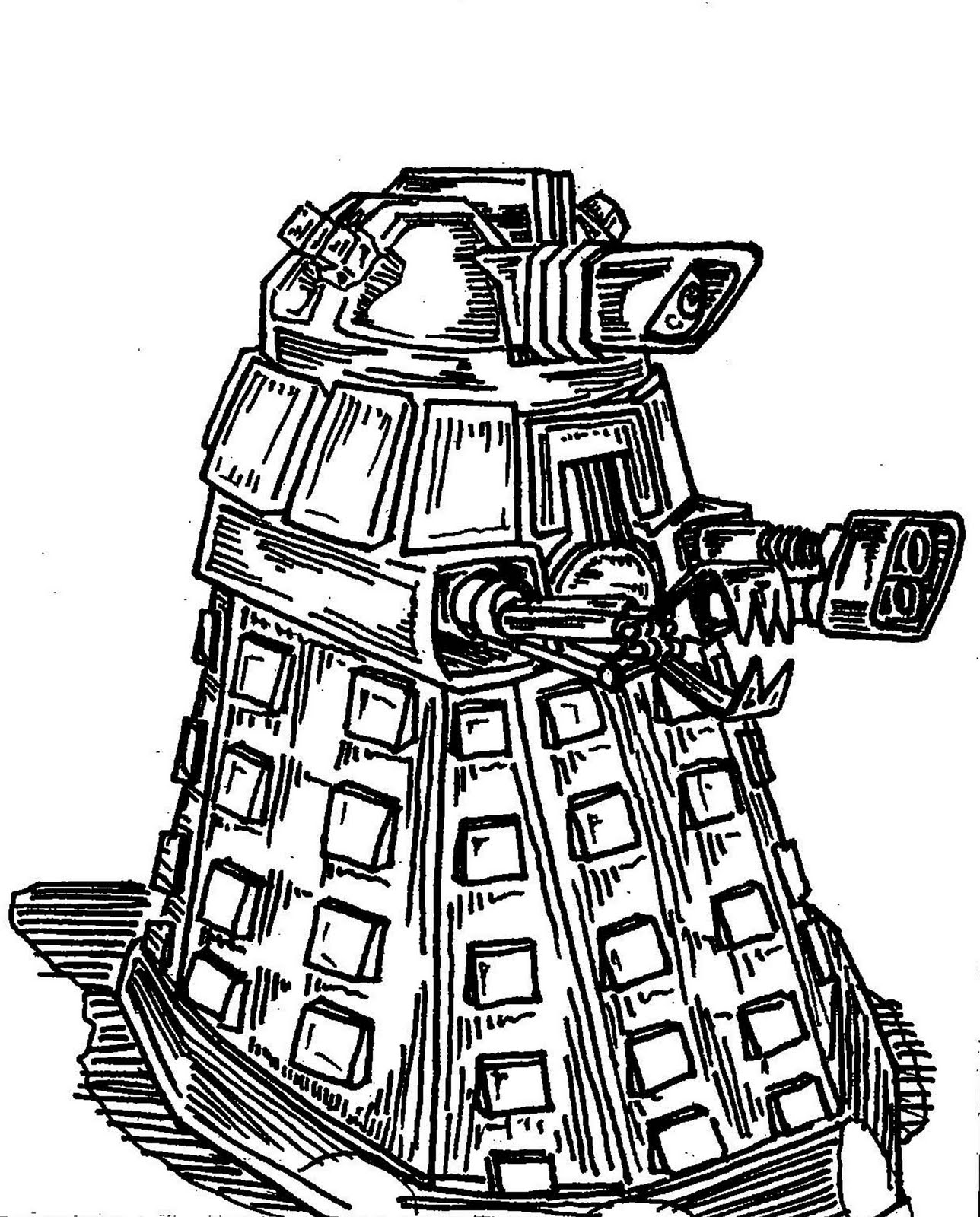 dalek coloring page - dalek free colouring pages