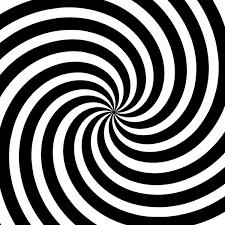 imagem com círculos preto e branco fazendo um efeito hipnótico