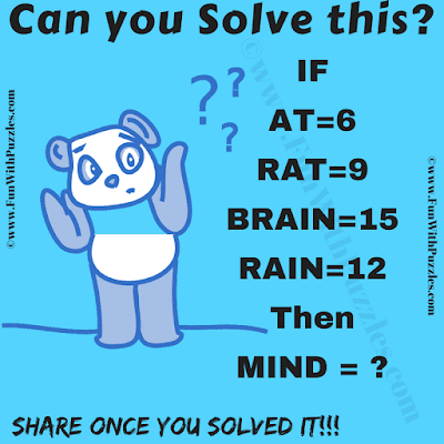 If AT=6, RAT=9, BRAIN=15, RAIN=12 Then MIND=?