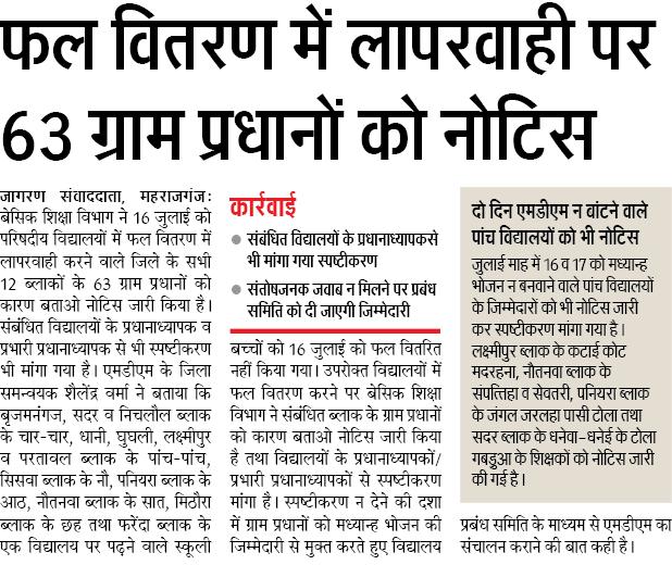 Basic Shiksha Letest News Fal Vitran me Laparwahi Gram pradhan ko notice