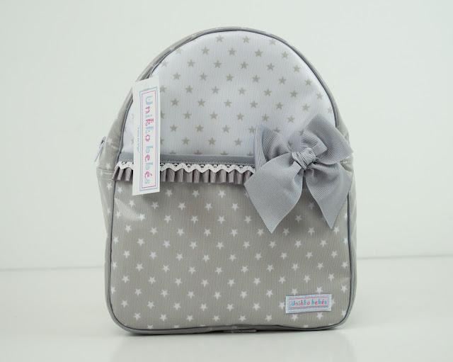 mochila estrellas colegio gris