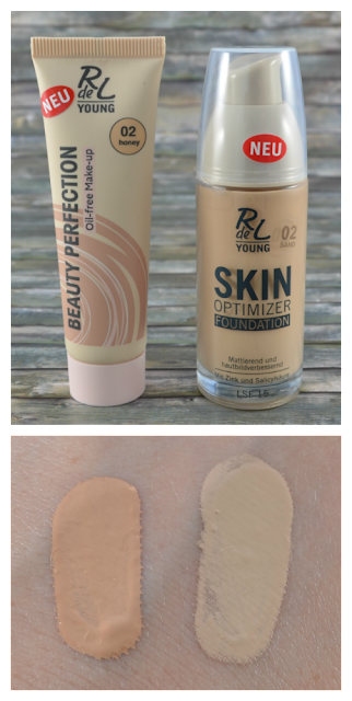 R de L Young beauty perfection oil free make up 02 honey und skin optimizer foundation 02 sand und Swatches