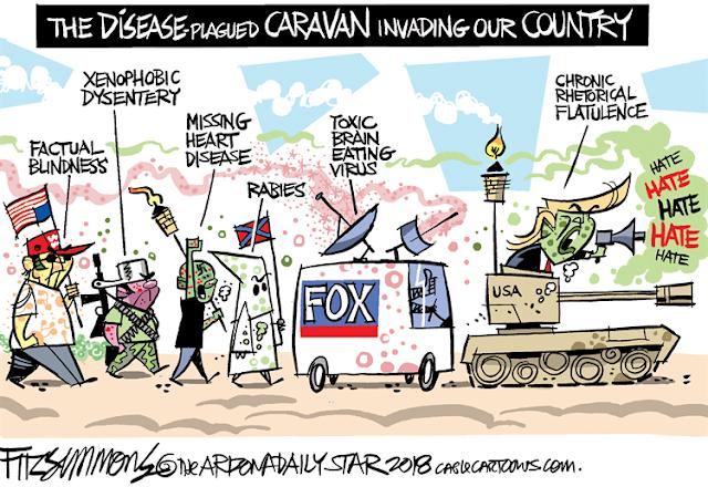 Title:  The Disease-Plagued Caravan.  Image:  Donald Trump screaming