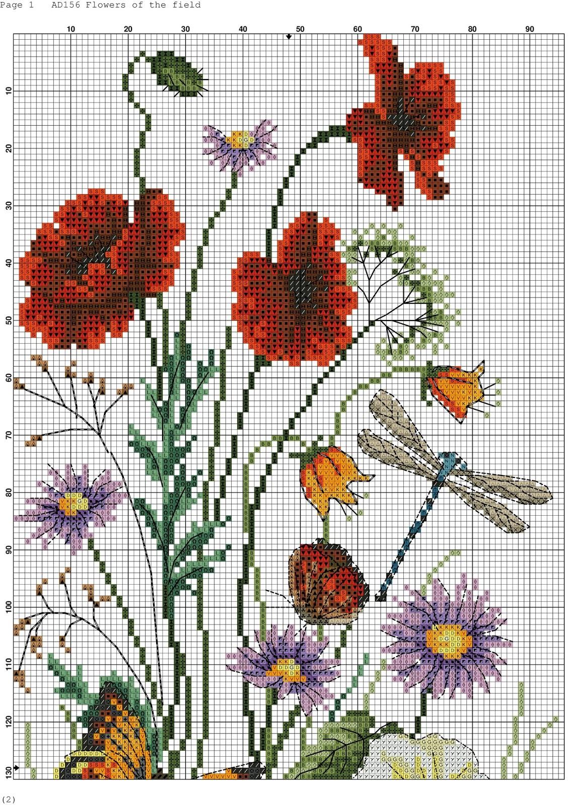 Papaveri e fiori a punto croce schema free for Ricamo punto croce schemi gratis